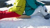 Young People In Ski Suits And Boots Sit With Their Backs To Each Other On The Same Wooden Stand. Sno poster