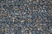 Wire Gabion Rock Fence. Metal Cage Filled With Rocks. Texture Background Of Rock Fence With Cage. Ni poster
