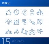 Rating Icons. Set Of Line Icons. Good Choice, Best Worker, Employees Rate. Customer Feedback Concept poster