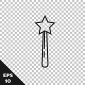 Black Line Magic Wand Icon Isolated On Transparent Background. Star Shape Magic Accessory. Magical P poster