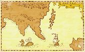 foto of galleon  - Ilustration of a treasure map showing continent and islands ship galleon and whale done in vintage style - JPG