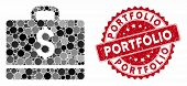 Mosaic Accounting And Distressed Stamp Seal With Portfolio Text. Mosaic Vector Is Designed With Acco poster