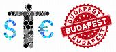 Mosaic Currency Trader And Rubber Stamp Seal With Budapest Caption. Mosaic Vector Is Composed From C poster