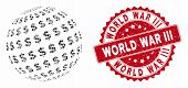 Mosaic Dollar Abstract Sphere And Corroded Stamp Seal With World War Iii Phrase. Mosaic Vector Is Cr poster
