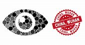 Mosaic Eye And Rubber Stamp Seal With China, Wuhan Text. Mosaic Vector Is Formed From Eye Icon And W poster