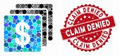 Mosaic Finances And Grunge Stamp Watermark With Claim Denied Phrase. Mosaic Vector Is Created With F poster