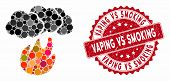 Mosaic Fire With Smoke And Distressed Stamp Seal With Vaping Vs Smoking Phrase. Mosaic Vector Is Com poster