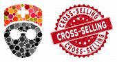 Mosaic Medic Head And Rubber Stamp Seal With Cross-selling Phrase. Mosaic Vector Is Composed With Me poster
