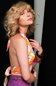 picture of halter-top  - Pretty slim blonde in vintage halter and shorts - JPG