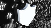 Icon Cybersecurity Shield On Digital Background, Computer Generated. 3d Rendering Of Data Protection poster