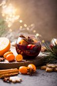 Mulled Wine.christmas Mulled Wine  In Circle Glasses Delicious Holiday Like Parties With Orange Cinn poster