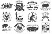 Set Of Hunting And Fishing Club Badges. Vector Illustration Concept For Shirt, Print, Stamp, Tee. Vi poster