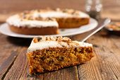 carrot cake with cream and nuts poster