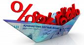 Paper Boat From A Kazakhstan Banknote With The Symbols Of A Percentages. Paper Boat From Kazakhstan  poster