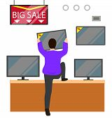 Big Sale On Appliances In Market. Man Hold Televisor In Hands, Choosing Product To Buy In Electronic poster