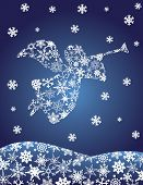 pic of angel-trumpet  - Christmas Angel with Trumpet Silhouette with Snowflakes Illustration - JPG