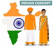 Family And Social Concept. Set Of Couple Standing Together Indian Man And Woman In Different Traditi poster