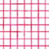 Watercolor Stripe Plaid Seamless Pattern. Red Pink Stripes On White Background. Watercolour Hand Dra poster
