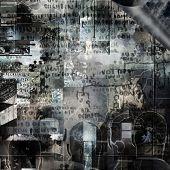 Surreal digital art. Mental Puzzles. 3D rendering poster