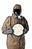 Man In Hazard Suit Holding A Dirty Dish