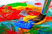 pic of bristle brush  - Art brush mixed paint on the palette - JPG