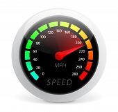 stock photo of mile  - Speedometer vector illustration isolated on white background - JPG