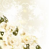 Beautiful Design Background With Pastel Roses, Pears, Swirl Ornament For Wedding Design