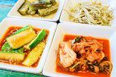 picture of kimchi  - Korean cuisine Kimchi on white square dish - JPG