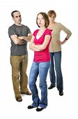foto of disrespect  - Teenage girl rolling her eyes in front of angry parents - JPG