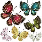 stock photo of green pea  - Set fantasy colorful vintage butterfly butterflies  - JPG