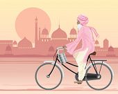 image of salwar-kameez  - an illustration of a sikh man on a bicycle travelling along a hot city road at sunset in traditional dress with a tiffin and mughal architecture in the background - JPG