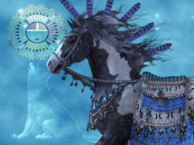 picture of workhorses  - A black paint horse and a wolf are symbols of American Indian culture - JPG