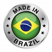 pic of brasilia  - Made in Brazil silver badge and icon with central glossy Brazilian flag symbol and stars - JPG