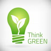 stock photo of natural resources  - Think green eco bulb vector illustration - JPG