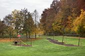 image of hayfield  - idyllic rural autumn scenery at a playground in Southern Germany - JPG