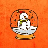 Snowman in Christmas Snow Globe. Cute Hand Drawn Vector illustration, Vintage Paper Texture Backgrou