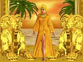 stock photo of cleopatra  - Egyptian royal woman standing with statues - JPG