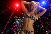 stock photo of ladies night  - Sexy young blonde lady in night club - JPG