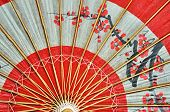 picture of geisha  - Traditional Japanese umbrella inside view on the bed - JPG