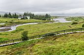 stock photo of prime-minister  - Church and a farm in Thingvellir - JPG