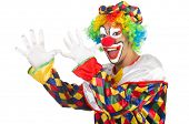 stock photo of jestering  - Funny clown isolated on white - JPG