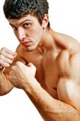 picture of pugilistic  - Male tough boxer ready for a fight - JPG