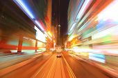 foto of acceleration  - abstract night acceleration speed motion shot in hong kong asia - JPG