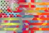 stock photo of rap  - Graffiti styled bright illustration of national flag of the United States of America - JPG