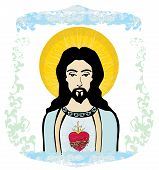 stock photo of sacred heart jesus  - Sacred Heart of Jesus on abstract background  - JPG