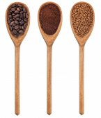 image of coffee grounds  - Three spoons freshly ground coffee beans granular isolated on white background - JPG