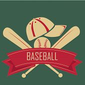 pic of baseball bat  - two bats of baseball with hat and ball and a red ribbon in a green background - JPG