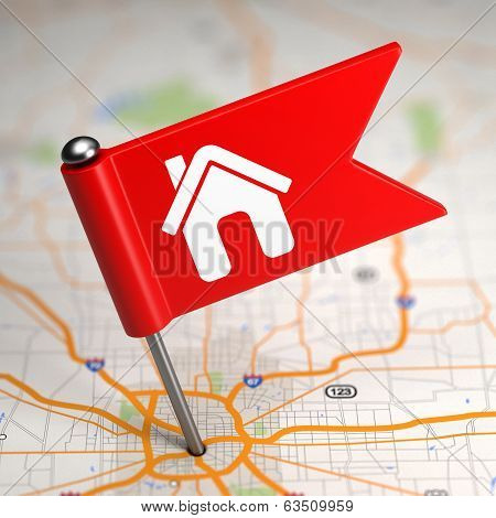 House Sign - Small Flag on a Map Background. poster