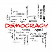 pic of bill-of-rights  - Democracy Word Cloud Concept in red caps with great terms such as people rights vote and more - JPG