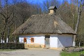 traditional ukrainian house in Pirogovo village, open air museum in Kiev